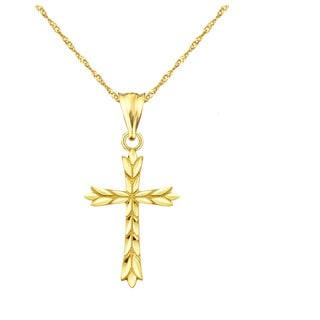10k Yellow Gold Cross Leaf Charm Pendant
