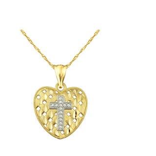 10k Yellow Gold Diamond-cut Heart with Cross Charm Pendant