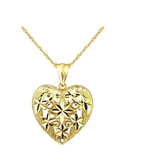10k Yellow Gold Floral Heart Charm Pendant