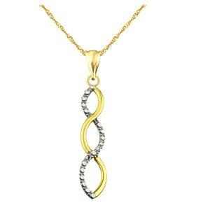 10k Yellow Gold Diamond-cut Ribbon Swirl Charm Pendant