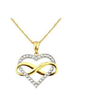 10k Two-tone Gold Infinity Heart Charm Pendant