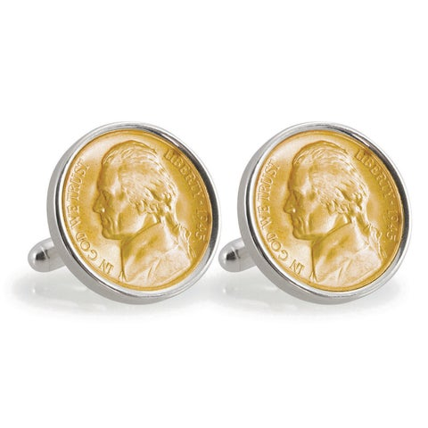 American Coin Treasures Gold-Plated Silver Jefferson Nickel Wartime Nickel Sterling Silver Cuff Lin