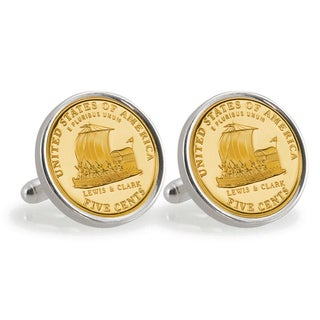 American Coin Treasures Gold-Plated 2004 Keelboat Sterling Silver Cuff Links