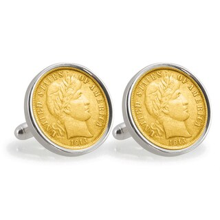 American Coin Treasures Gold-Plated Silver Barber Dime Sterling Silver Cuff Links