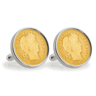 American Coin Treasures Gold-Plated 1800's Silver Barber Dime Sterling Silver Cuff Links