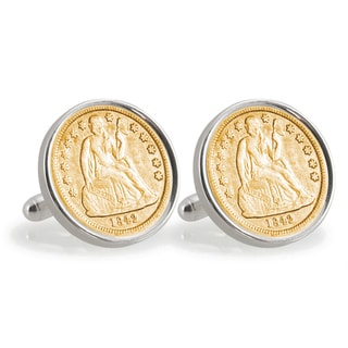 American Coin Treasures Gold-Plated Seated Liberty Silver Dime Sterling Silver Cuff Links