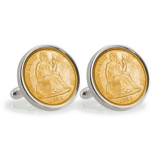 American Coin Treasures Gold-Plated Civil War Seated Liberty Silver Dime Sterling Silver Cuff Links