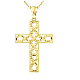 10k Yellow Gold Infinity Cross Charm Pendant