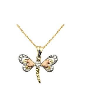 10k Tricolor Dragonfly Charm Pendant