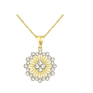 10k Yellow Diamond-cut Starburst Charm Pendant