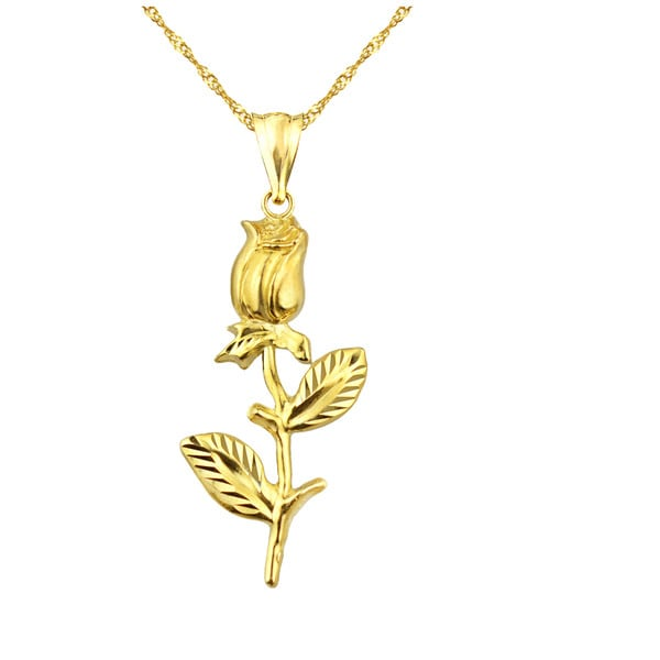 10k Yellow Gold Valentines Day Rose Charm Pendant Free Shipping
