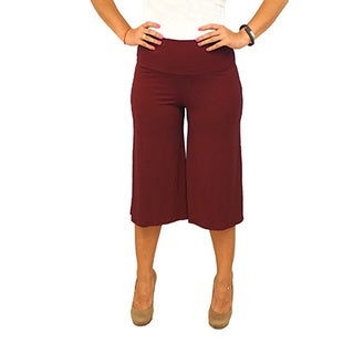 Fold over Waist Short Length Solid Gaucho Pants