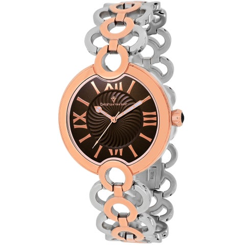 Christian Van Sant Women's Twirl Round Two-tone Stainless Steel Bracelet Watch