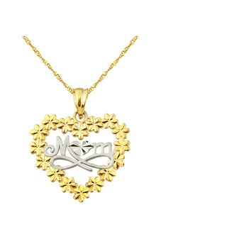 10k Yellow Gold Talking MOM with Flowers Charm Pendant