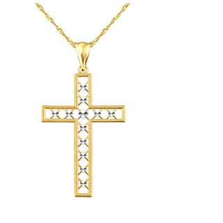 10k Yellow Gold Diamond-cut Lattice Cross Charm Pendant