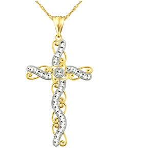 10k Yellow Gold Diamond-cut Ribbon Swirl Cross Pendant