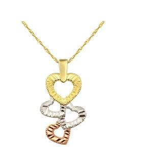 10k Tricolor Multi Heart Charm Pendant