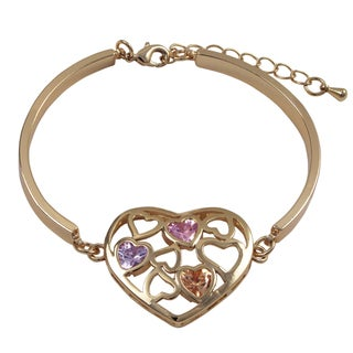Luxiro Rose Gold Finish Cubic Zirconia Heart Bangle Bracelet