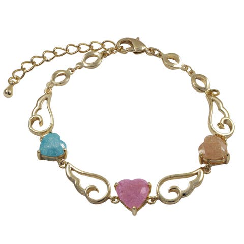 Luxiro Gold Finish Cubic Zirconia Winged Heart Link Bracelet - Pink