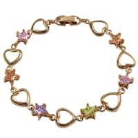 Luxiro Rose Gold Finish Cubic Zirconia Star Heart Children's Link Bracelet