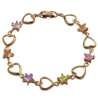 Luxiro Rose Gold Finish Cubic Zirconia Star Heart Children's Link Bracelet