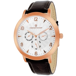 Christian Van Sant Men's CV3514 Harper Round Brown Leather Strap Watch