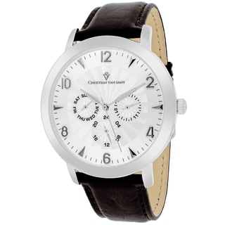 Christian Van Sant Men's CV3513 Harper Round Brown Leather Strap Watch