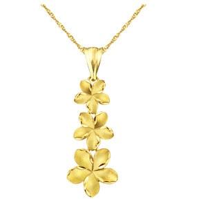 10k Yellow Gold Plumeria Charm Pendant