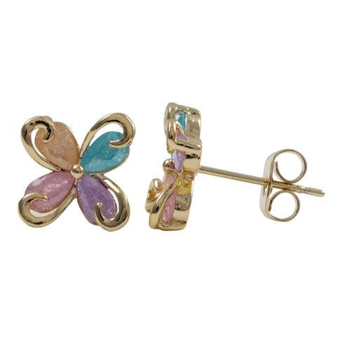 Luxiro Gold Finish Cubic Zirconia Children's Flower Stud Earrings - Pink