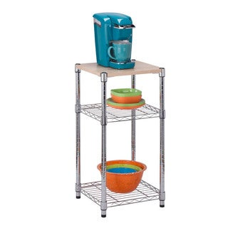 Honey-Can-Do 3-Tier Shelving Chrome w Wood