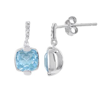 H Star Sterling Silver 1ct Blue Topaz and Diamond Accent Earrings (H-I, SI2-SI3)