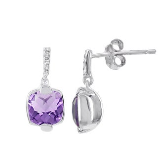 H Star Sterling Silver 1ct Amethyst and Diamond Accent Earrings (H-I, SI2-SI3)