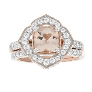 H Star 14k Rose Gold 1ct TDW Diamond and 1 1/4ct Morganite Bridal Set (I-J, I2-I3)