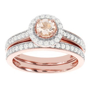 H Star 14k Rose Gold 1/2ct Morganite Center and 1/3ct TDW Diamond Bridal Set (I-J, I2-I3)