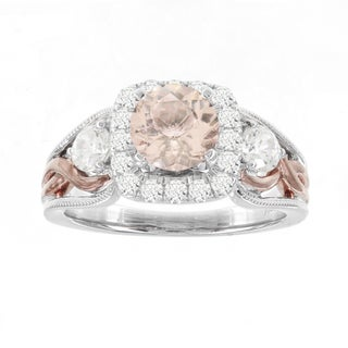 H Star 14k White/ Rose Gold 1 1/7ct Morganite Center and 3/4ct TDW Diamond Engagement Ring (I-J, I2-I3)