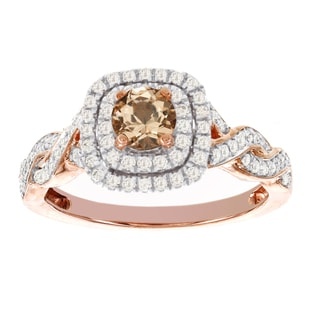 H Star 14k Rose Gold 1/2ct Morganite Center and 3/8ct TDW Diamond Engagement Ring (I-J, I2-I3)