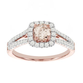 H Star 14k Rose Gold 1/2ct Morganite Center and 1/2ct TDW Diamond Engagement Ring (I-J, I2-I3)