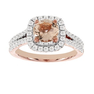H Star 14k Rose Gold 1ct Morganite Center 1ct TDW Diamond Engagement Ring (I-J, I2-I3)