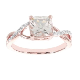 H Star 14k Rose Gold 1 1/3ct Morganite Center and Diamond Accent Ring (I-J, I2-I3)