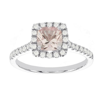 H Star 14k White Gold 1ct Morganite Center and 1/3ct TDW Diamond Halo Engagement Ring (I-J, I2-I3)