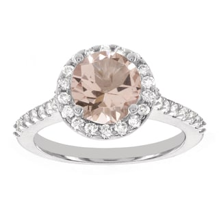 H Star 14k White Gold 1/2ct TDW Diamond and 1 5/8ct Morganite Center Halo Engagement Ring (I-J, I2-I3)