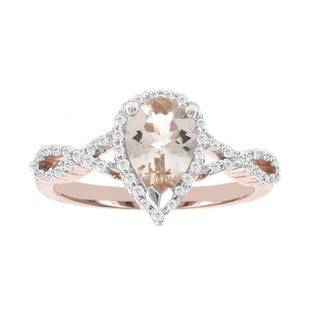 H Star 14k Rose Gold 1 1/10ct Morganite Center and 1/4ct TDW Diamond and Ring (I-J, I2-I3)