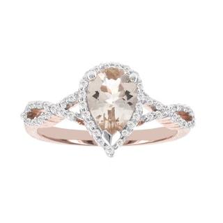 H Star 14k Rose Gold 1 1/10ct Morganite Center and 1/4ct TDW Diamond and Ring (I-J, I2-I3)