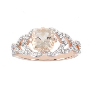 H Star 14k Rose Gold 1/3ct TDW Diamond and 1 1/4ct Morganite Ring (I-J, I2-I3)