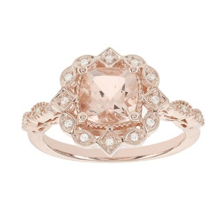 H Star 14k Rose Gold 1 1/2ct Morganite Center and Diamond Accent Vintage Look Ring (I-J, I2-I3)