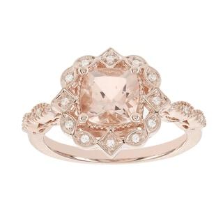 H Star 14k Rose Gold 1 1/2ct Morganite Center and Diamond Accent Vintage Look Ring (I-J, I2-I3)