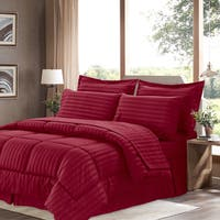 Wrinkle-Resistant Soft Dobby Striped Down-Alternative 8-piece Bed in a Bag with Sheet Set