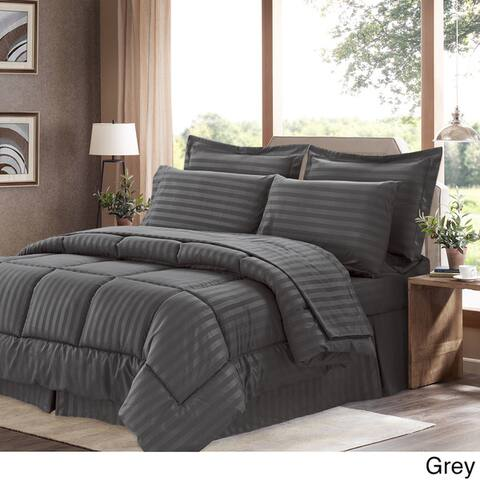 Soft Dobby 8-piece Striped Down Alternative Bed-in-a-Bag Set w/ Sheets