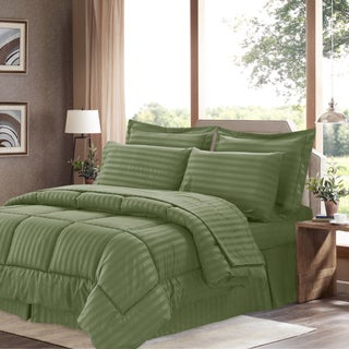 Wrinkle-Resistant Soft Dobby Striped Down-Alternative 8-piece Bed in a Bag with Sheet Set (Option: Sage - Queen)