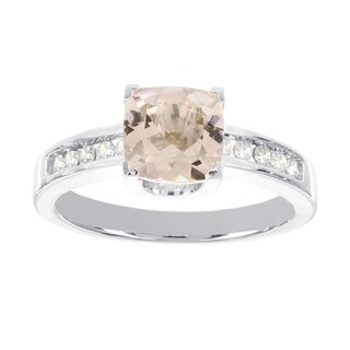 H Star 14k White Gold 1 1/3ct Morganite and 1/7ct TDW Diamond Ring (I-J, I2-I3)